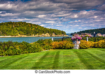 View of Frenchman Bay and Bar Island, in Bar Harbor, Maine.