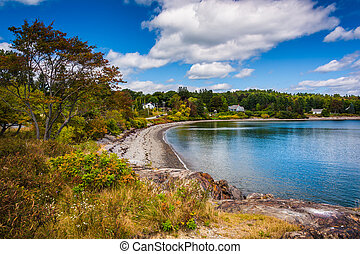 View of beach on Frenchman Bay, in Bar Harbor, Maine.