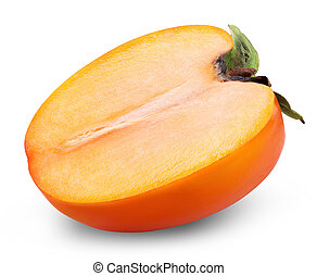Persimmon fruit isolated on white background. Clipping path