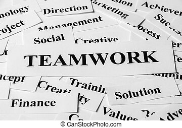 Teamwork And Other Related Words - Teamwork concept with...