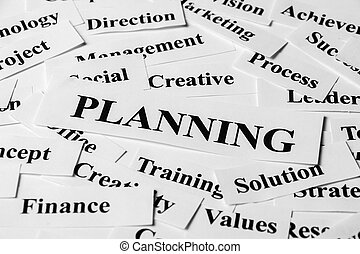 Planning And Other Related Words - Planning concept with...
