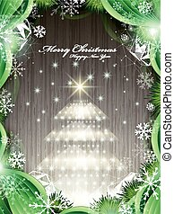 shinny Christmas tree isolated on wooden background