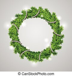 traditional green christmas wreath isolated on grey...
