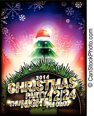 abstract Christmas music party poster template design