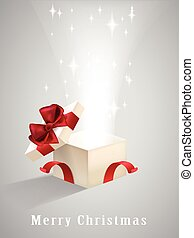 open gift box with sparkling lights isolated on grey