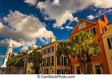 colorido, edificios, en, ancho, calle, en, Charleston, sur,...