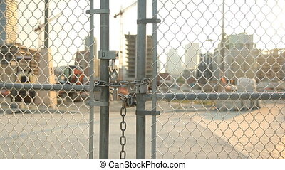 Locked gate at worksite - Locked gate at construction...