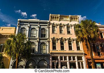 histórico, edificios, en, céntrico,...