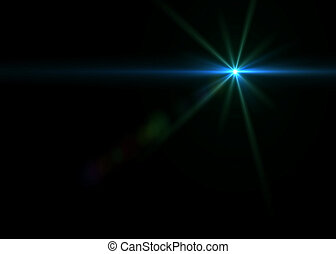 Blue light on black background