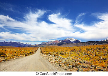 The pampas in Patagonia, Argentina The road in the desert