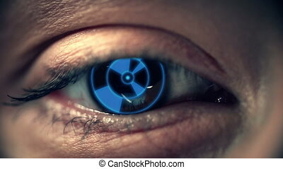 High-Tech Eye - Macro shot of human eye with implanted...