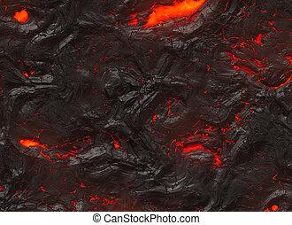 Solidificar, caliente, lava, textura, de, erupción,...