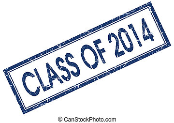 class of 2014 blue square stamp isolated on white background