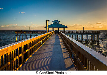 Evening light on the fishing pier in Fort Myers Beach, Florida.