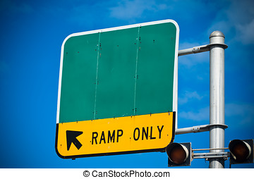Road sign - Blank highway or road sign showing ramp only...