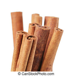 cinnamon cassia sticks, isolated on white background