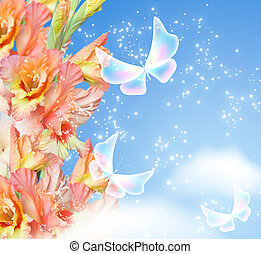 Gladiolus blossom and butterflies - Gladiolus blossom and...