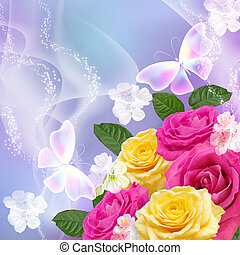 Roses and butterfly - Yellow and pink roses with transparent...
