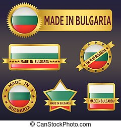 made in Bulgaria labels and stickers Vector illustration