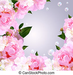 Peony and bubbles - Card with peony, white flowers and...