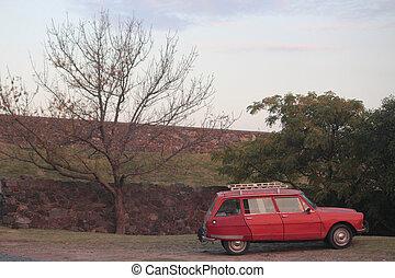 stary, czerwony, Wóz, w, Colonia, Del, Sacramento,