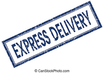 express delivery blue square stamp isolated on white background
