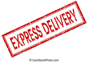 express delivery red square stamp isolated on white background
