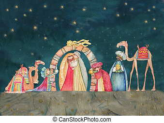 Christmas Nativity scene with the t - Illustration...