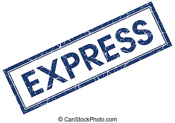 express blue square stamp isolated on white background