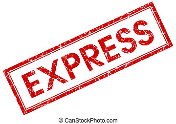 express red square stamp isolated on white background