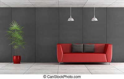 Contemporary living room with wall blackboard paneling and...