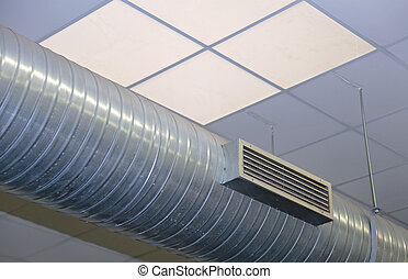 steel tube of air conditioning and heating in an industrial...