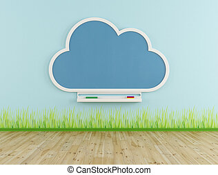 Empty playroom with cloud chalkboard - Playroom with cloud...