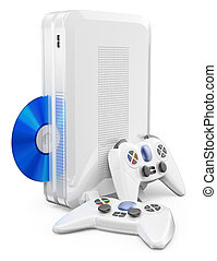 3D white game console with gamepad. Isolated white...