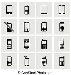 Vector mobile phone icon set on grey background