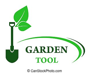 garden background with shovel and green leaf with decorative...