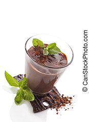 Chocolate pudding. - Chocolate pudding with fresh mint...