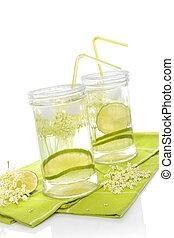 Elderberry lemonade Two glasses with elderberry lemonade...