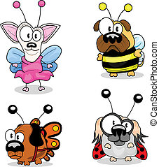 Cartoon dogs in costumes - Four cartoon dogs in fancy...