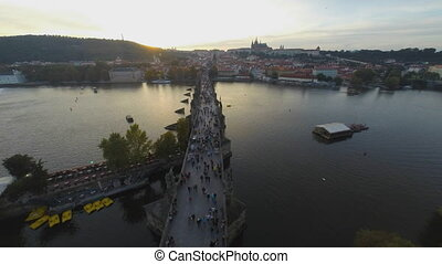 Charles Bridge in Prague - Time lapse of Charles Bridge in...