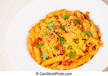 pasta with tomato sauce - Penne rigate pasta with tomato...