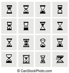 Vector hourglass icon set on grey background