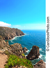 Cabo da Roca, coast of Portugal, the most western point of...