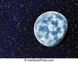 blue planet with one side shadow on cosmos stars backgrounds...