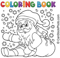 Coloring book Santa Claus in snow 1 - eps10 vector...