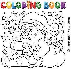 Coloring book Santa Claus in snow 1 - eps10 vector...