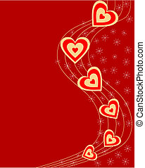 falling hearts - vector illustration of red and golden...