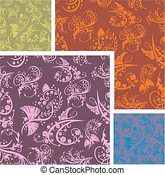 Chinese Floral - seamless pattern set.