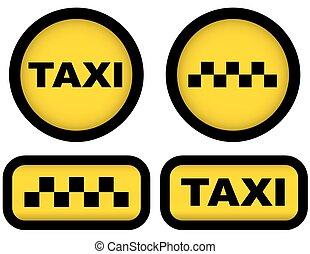 taxi signs set