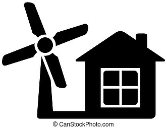 icon with home and wind mill - black icon with home and wind...